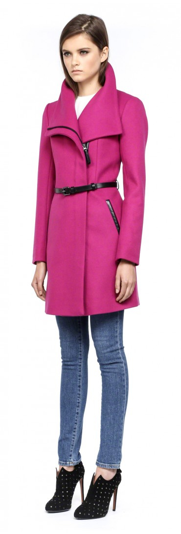 Mackage Valencia-F4 Magenta Classic Belted Winter Wool Coat in ...