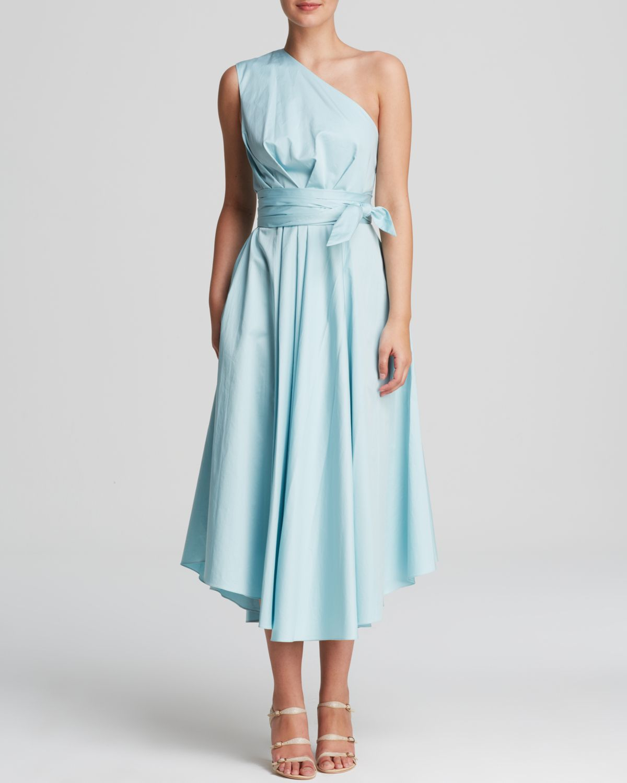Tibi Dress - Satin One Shoulder in Blue | Lyst