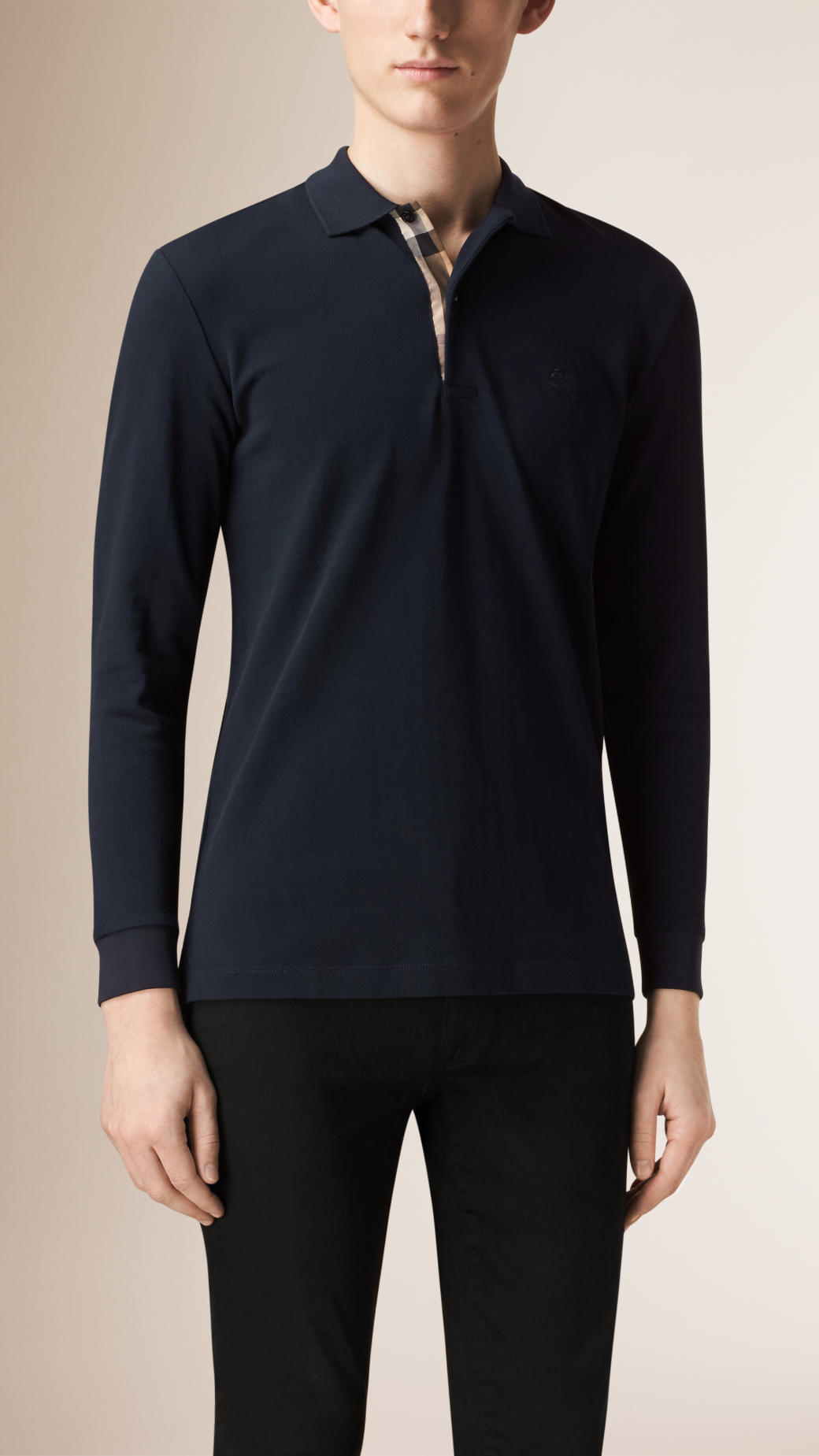 Burberry Check Placket Long Sleeve Polo Shirt In Blue For
