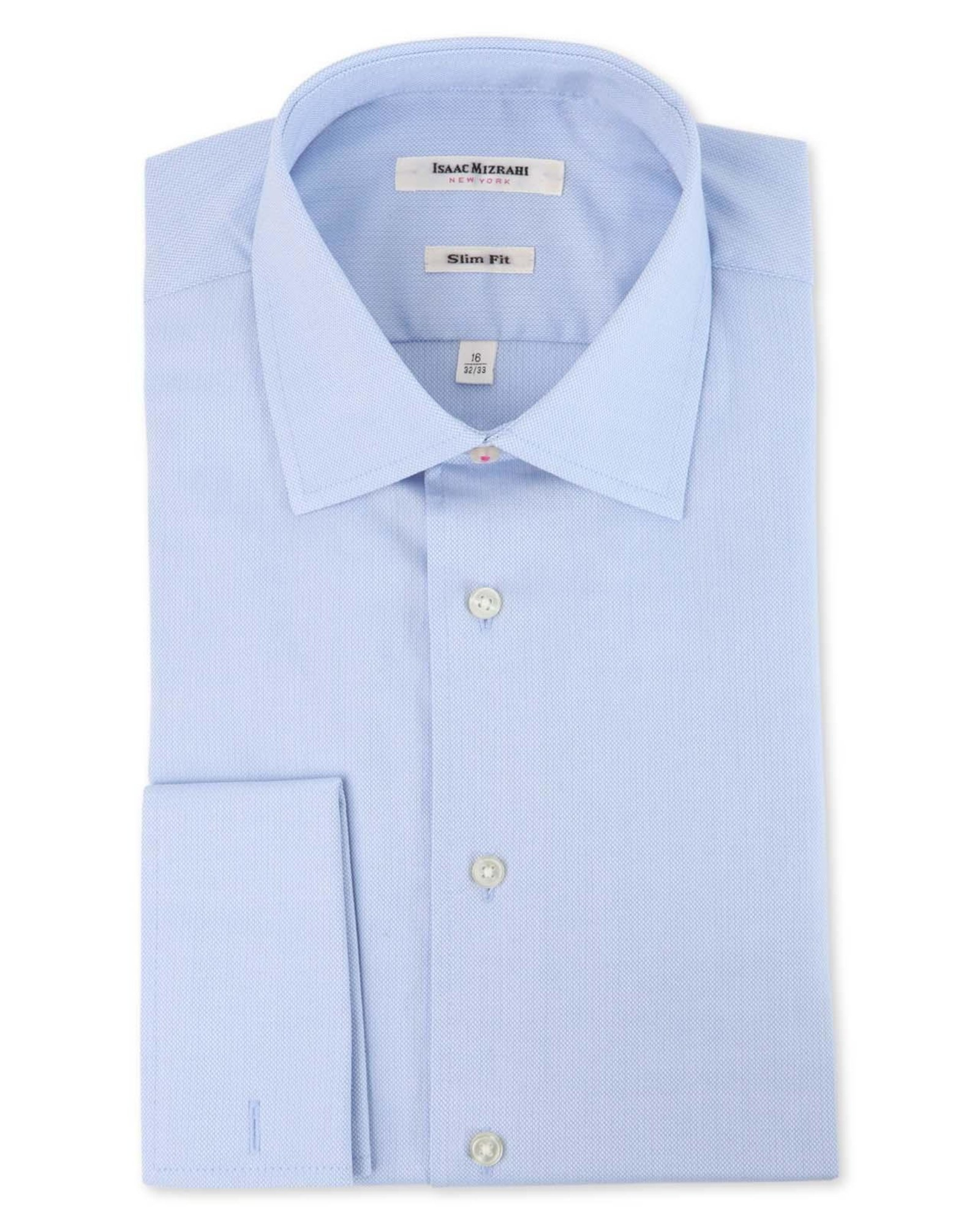 isaac mizrahi new york slim fit french cuff dress shirt in