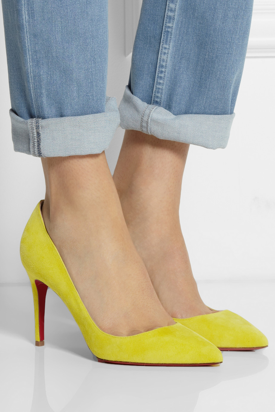11f61adfb0b Lyst - Christian Louboutin Pigalle 85 Suede Pumps in Yellow