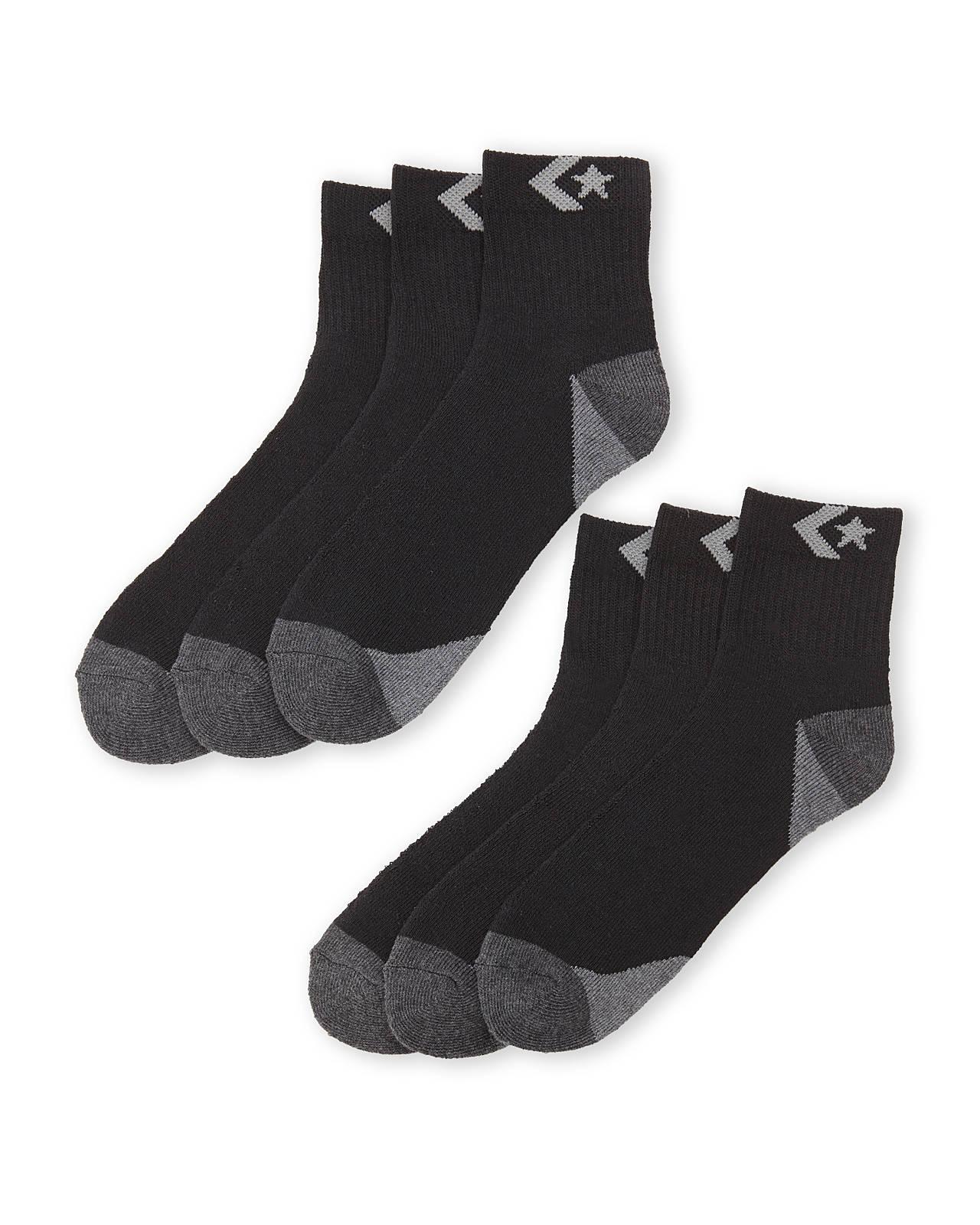 d8a604ede619 Lyst - Converse 6-Pack Quarter Socks in Black for Men