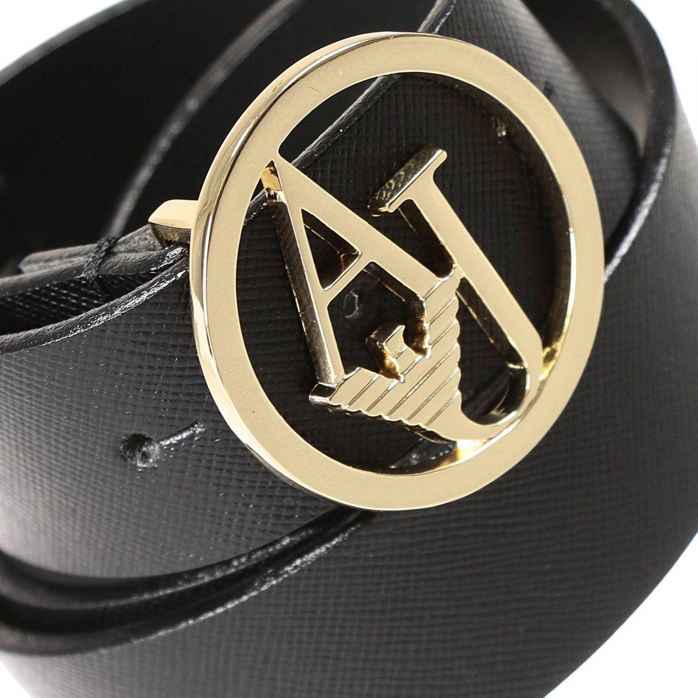 Armani Jeans Belt Saffiano Metal Logo Buckle In Black Lyst