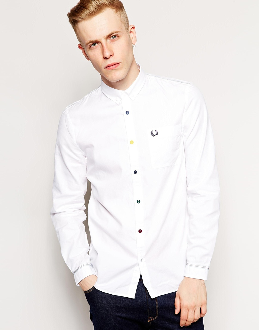 Lyst - Fred Perry Oxford Shirt With Multi Color Buttons in ...
