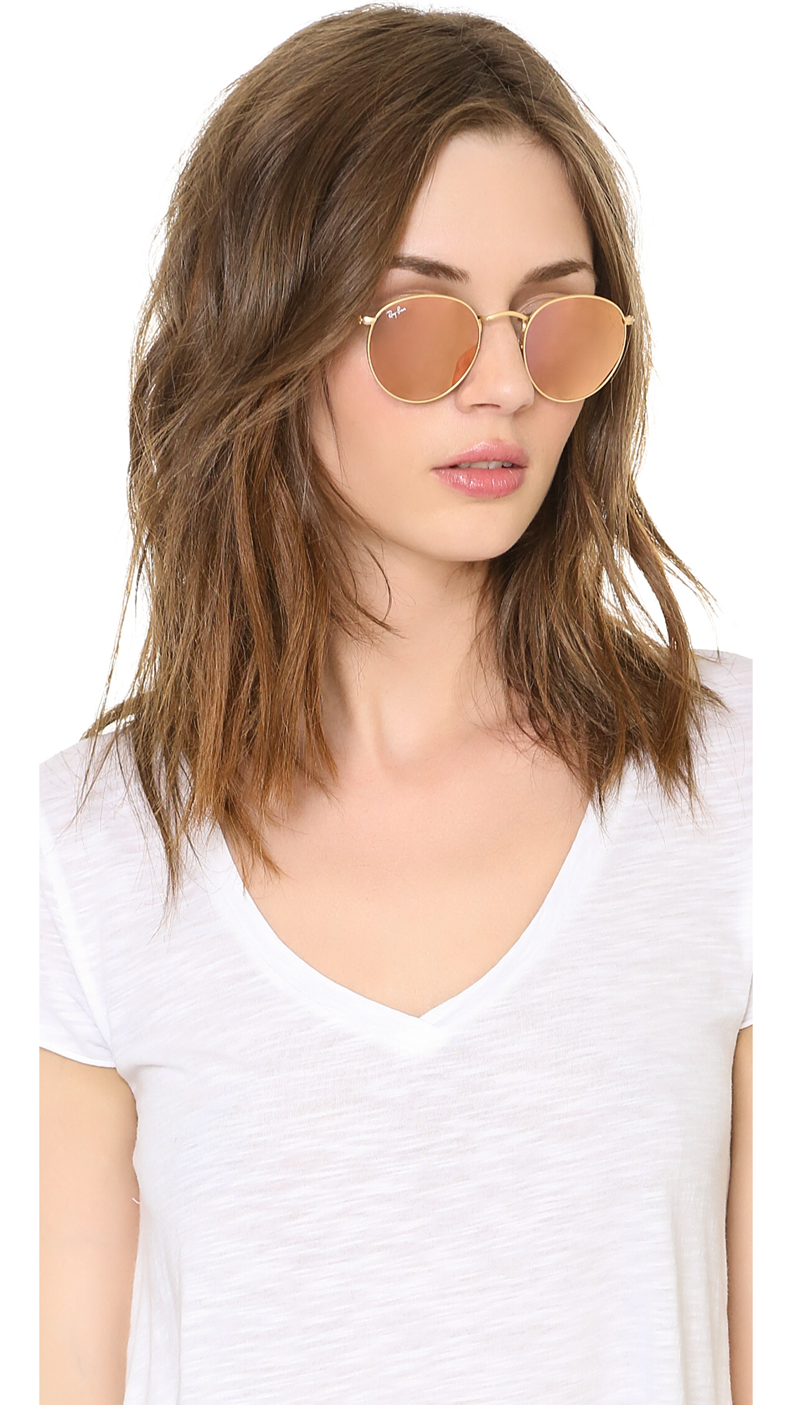 Ray Ban Icons Mirrored Sunglasses In Pink Matte Gold