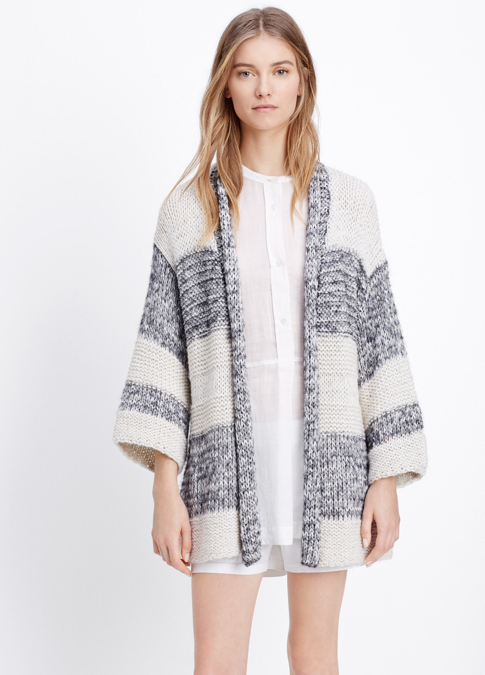 Vince Chunky Knit Striped Short Sleeve Cardigan in White | Lyst