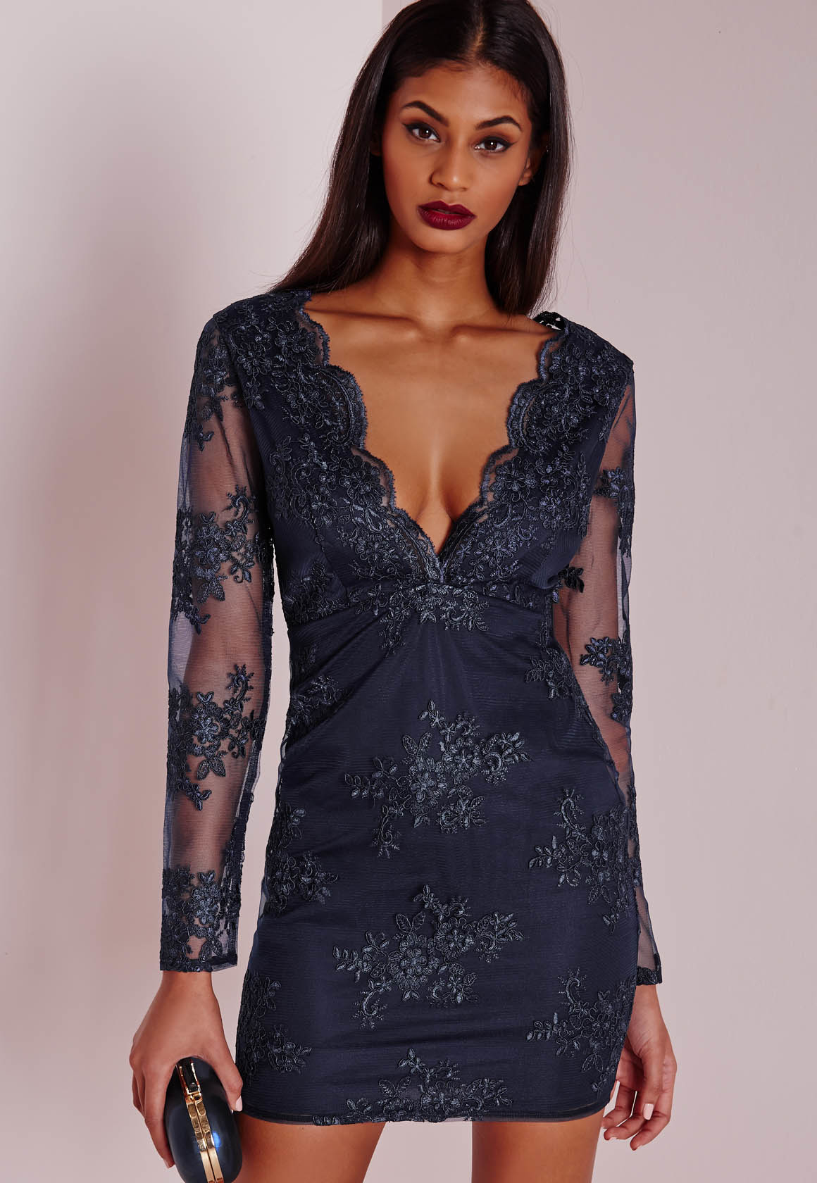 Lyst Missguided Premium Plunge Embroidered Lace Bodycon