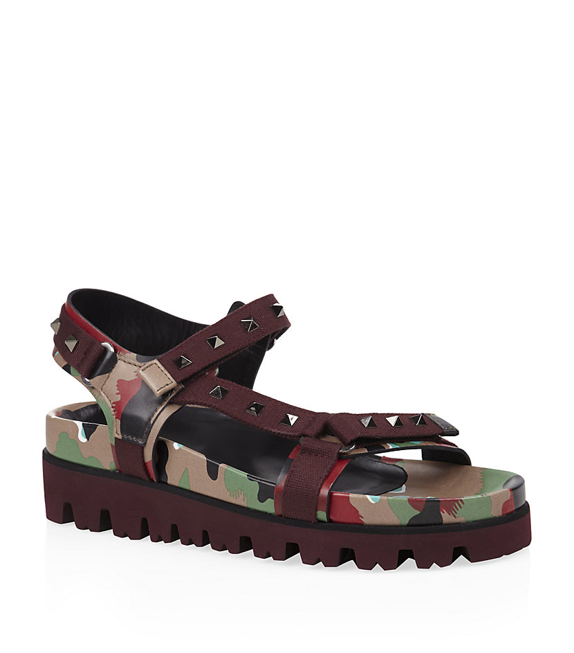 46f2a050c12 Valentino Show Psycho Studded Camo Sandals in Green for Men - Lyst