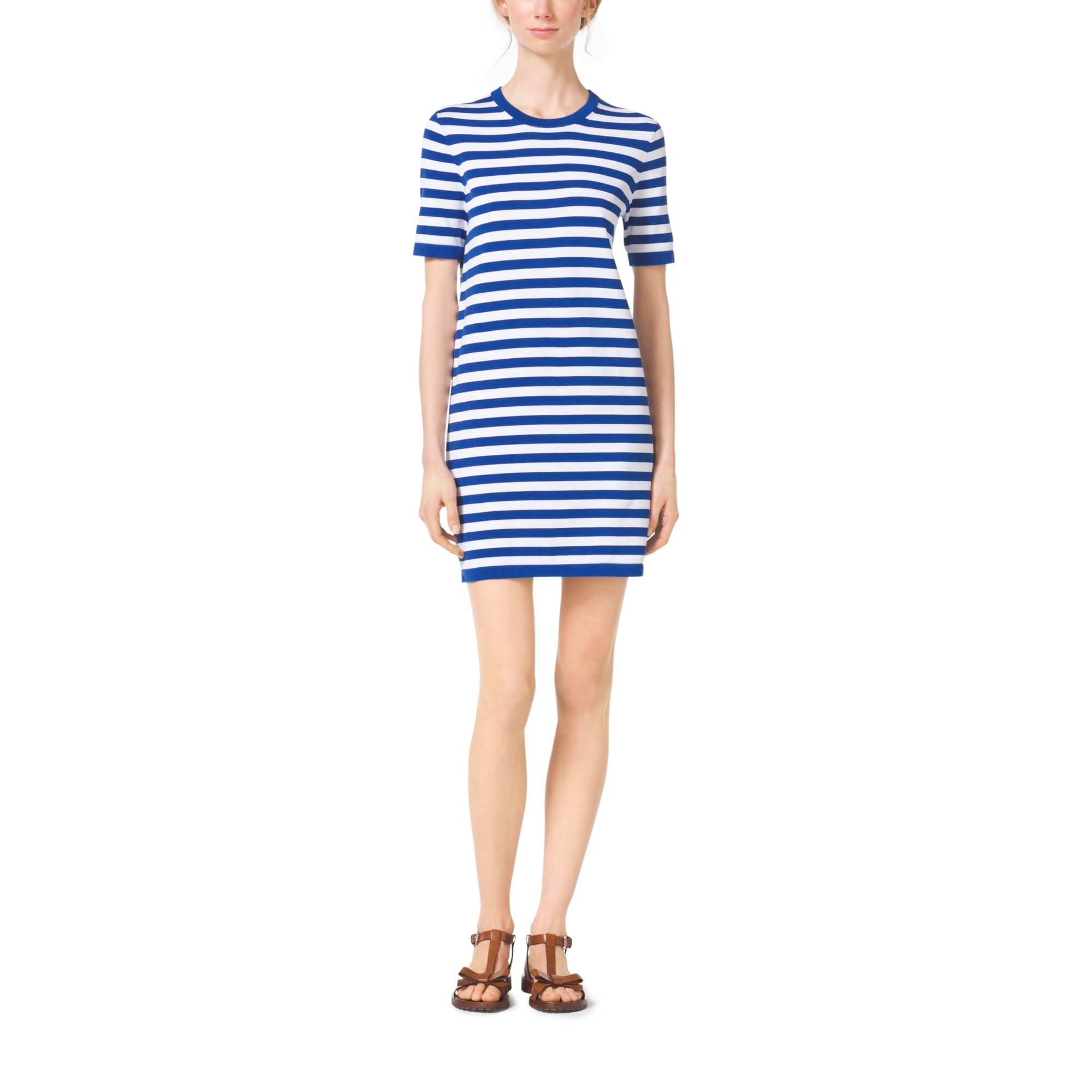 fdc04897463 Michael Kors Striped Compact-cotton T-shirt Dress in Blue - Lyst
