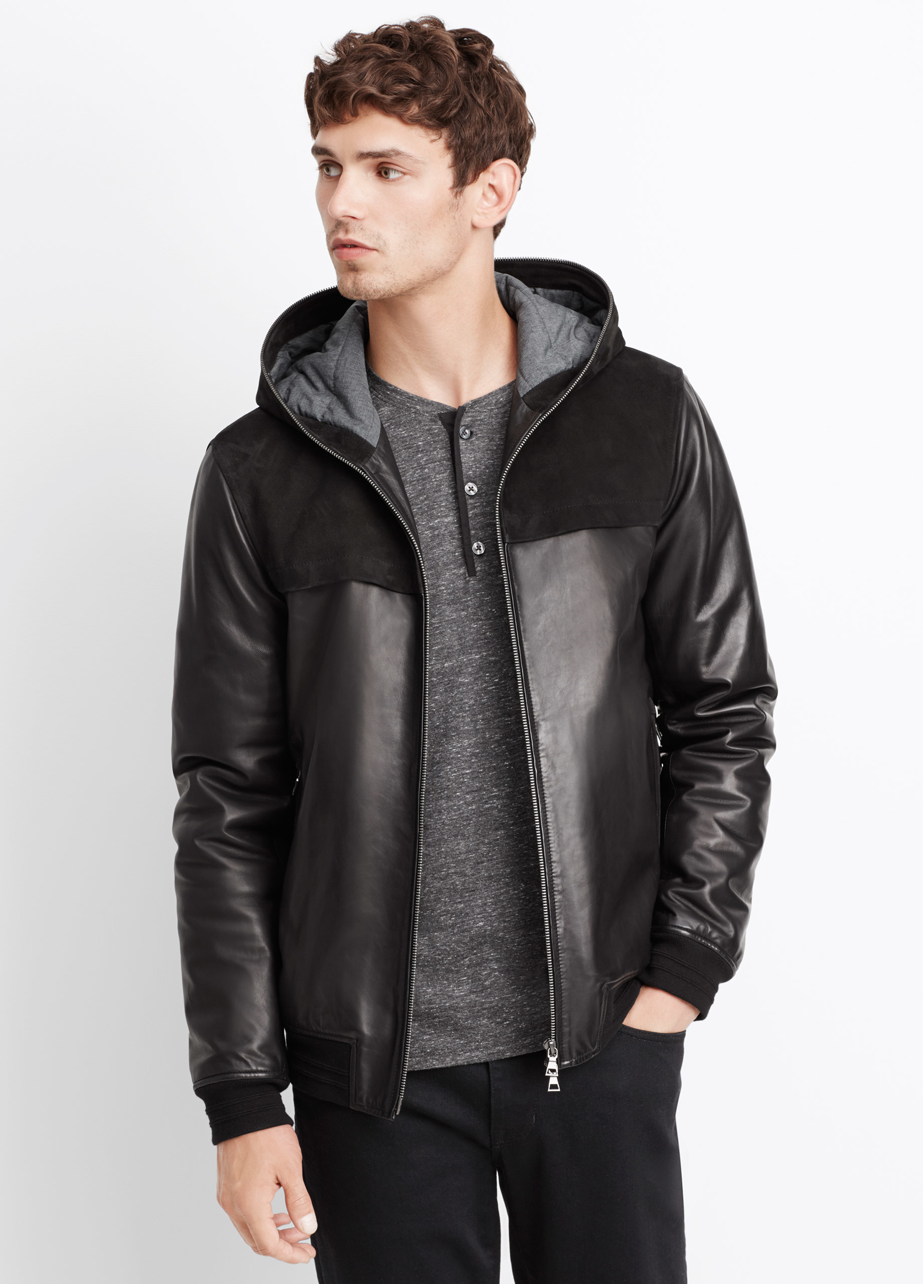 Vince Leather And Suede Hooded Jacket In Black For Men Lyst