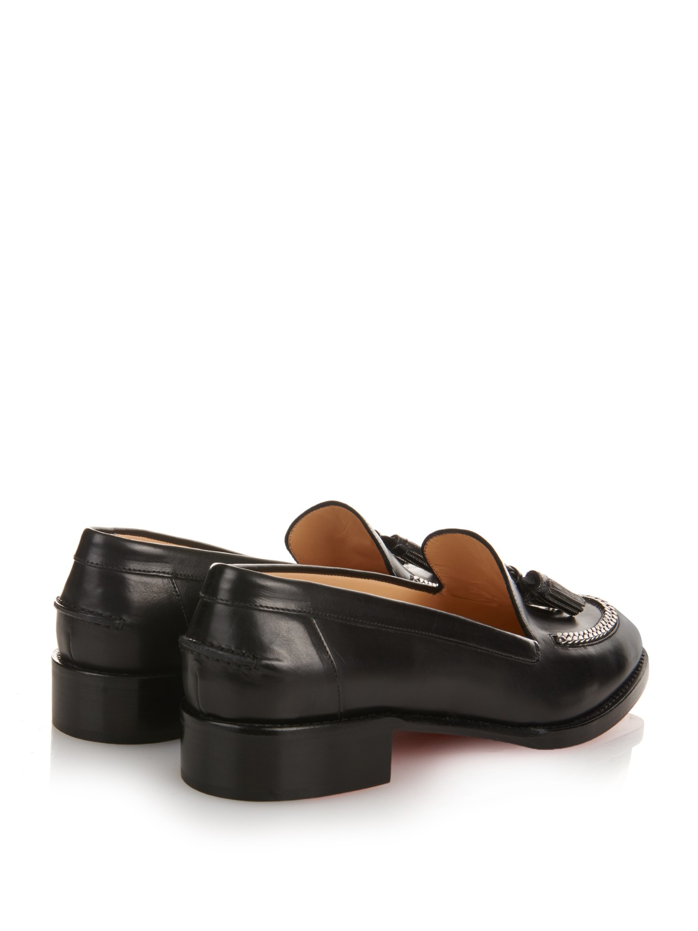 christian louboutin loafers Black leather leather tassels | The ...