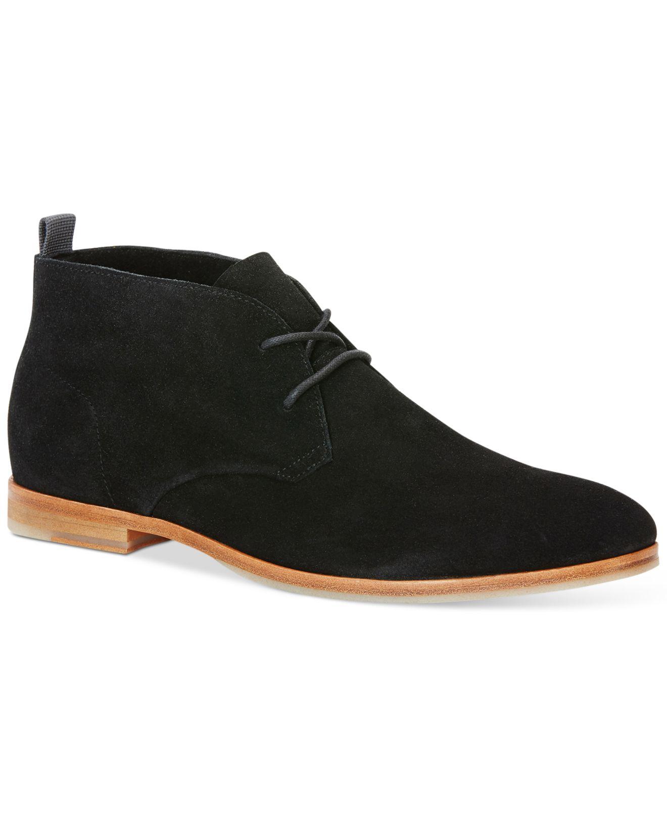 calvin klein farnel suede chukka boots in black for