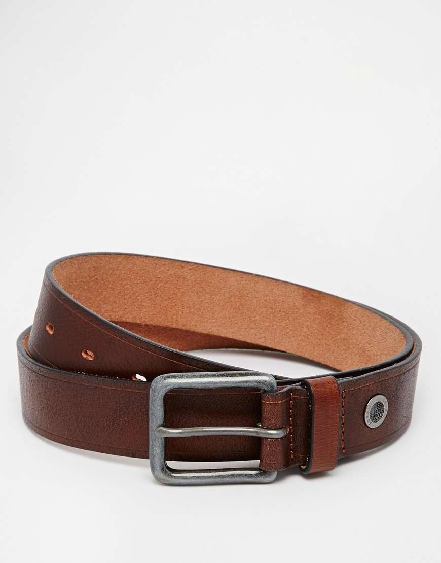 esprit leather belt with stripe in brown for lyst