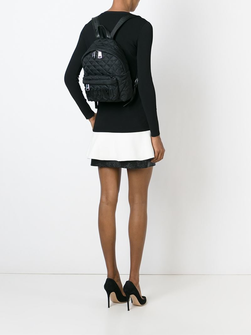 enjoy complimentary shipping amazing quality kid Moschino Black Small Quilted Backpack