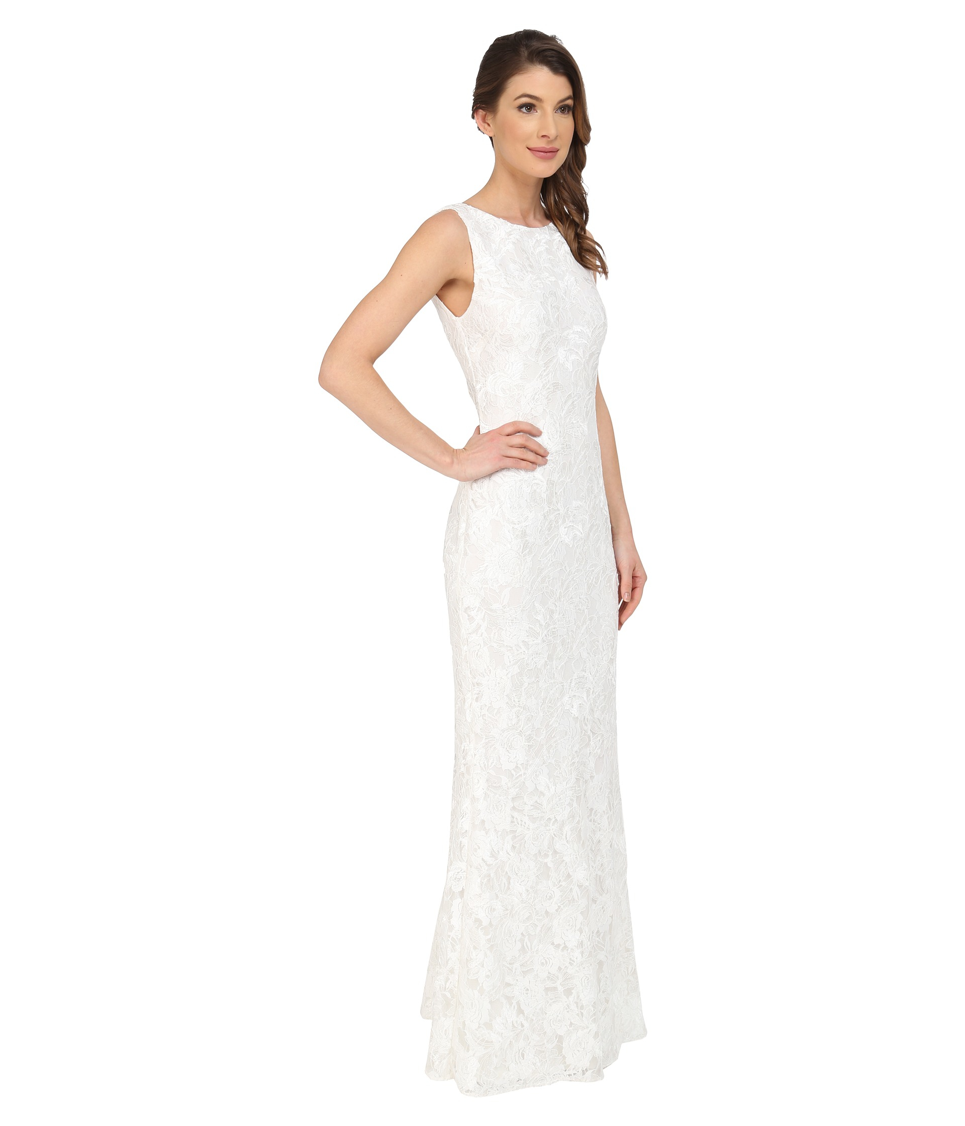 Lyst Calvin Klein Lace Gown Cd5b1p8u In White