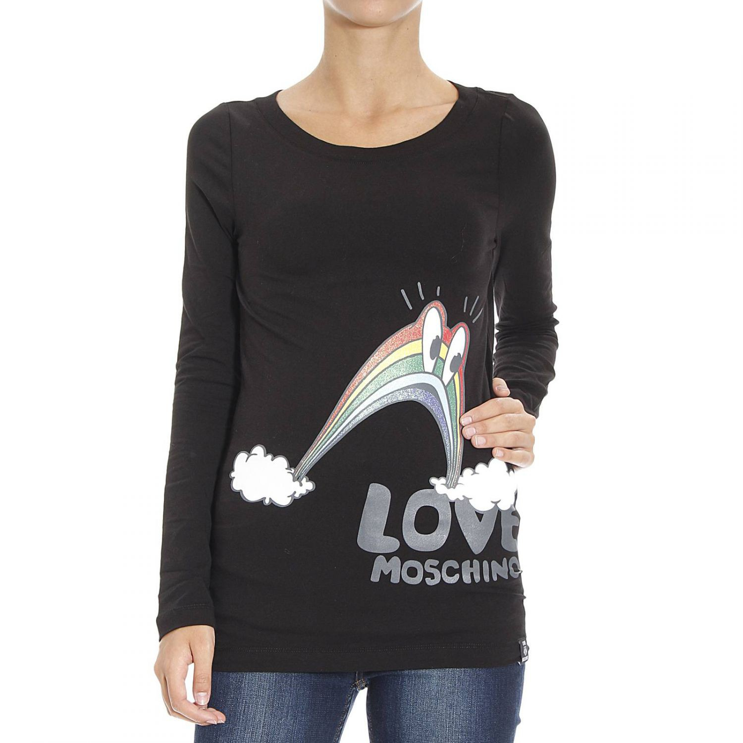 love moschino black moschino love t shirt lyst. Black Bedroom Furniture Sets. Home Design Ideas