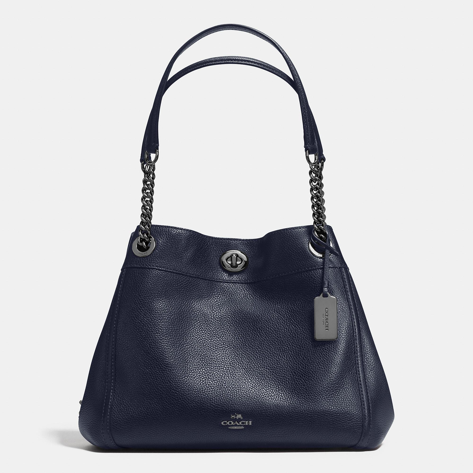 Coach Turnlock Edie Shoulder Bag In Polished Pebble Leather in ...