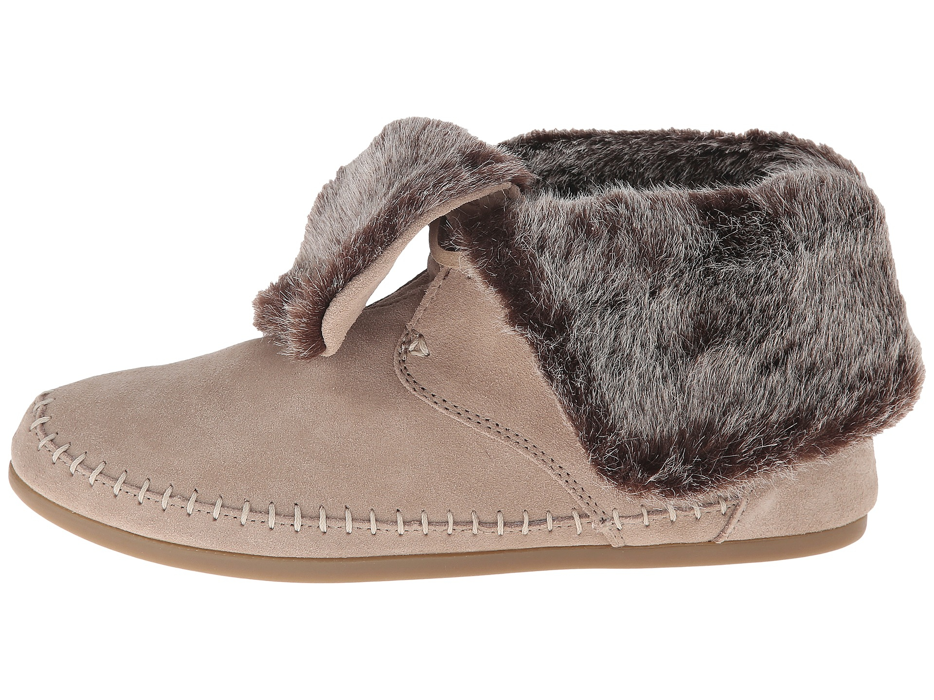 Toms Zahara Faux Fur Suede Boots In Beige Oxford Tan