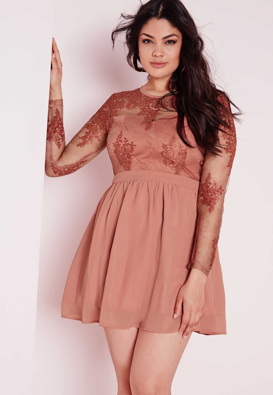 Blush Pink Plus Size Bridesmaid Dresses : Missguided plus size lace prom dress blush in red lyst