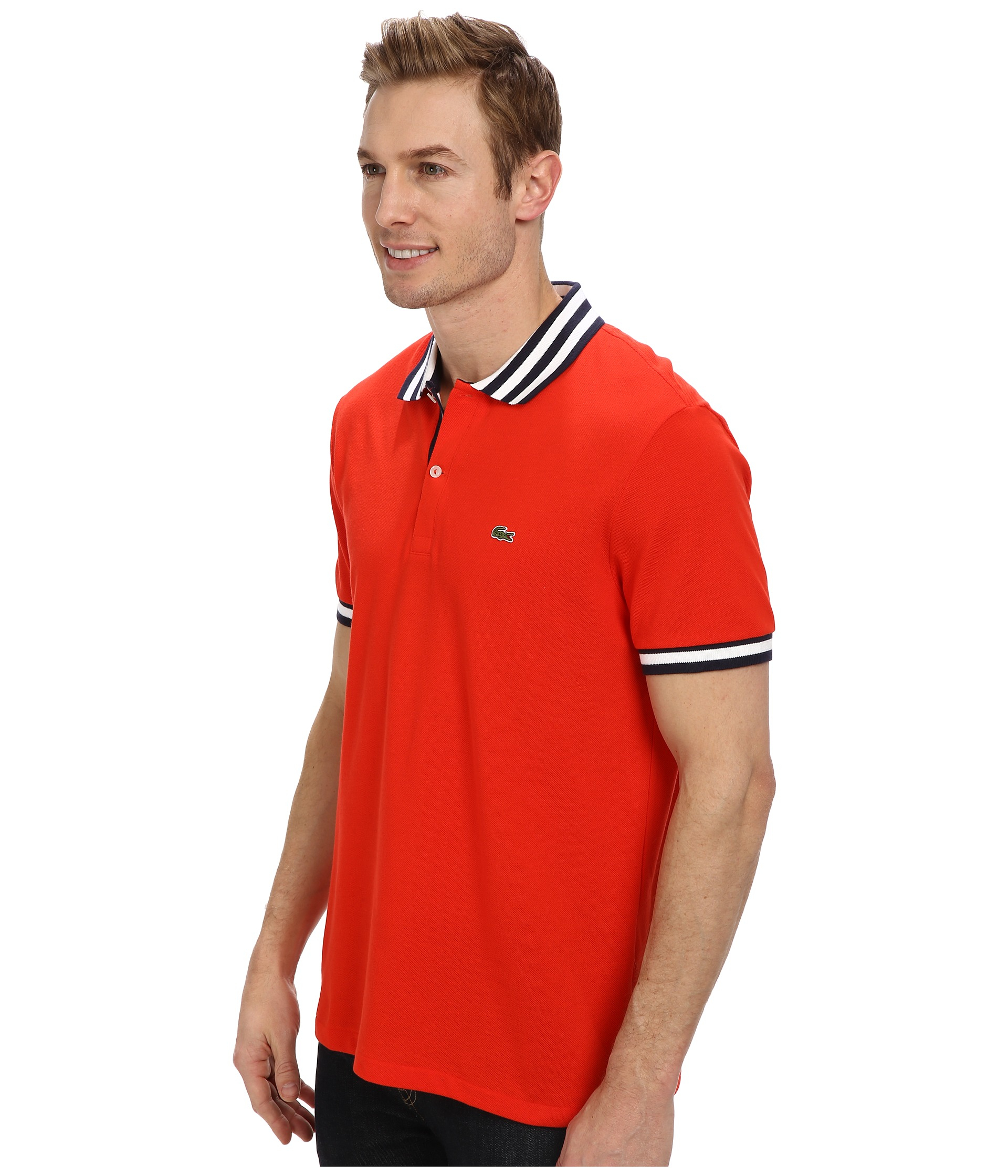 Lacoste s s stripe inset pique polo in red for men regal for Lacoste stripe pique polo shirt
