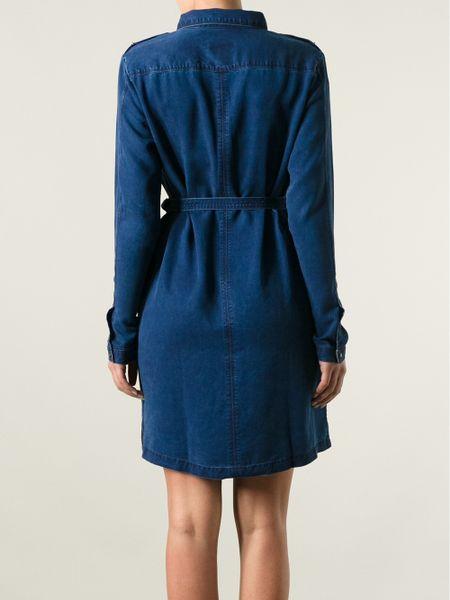 burberry brit belted denim dress in blue lyst