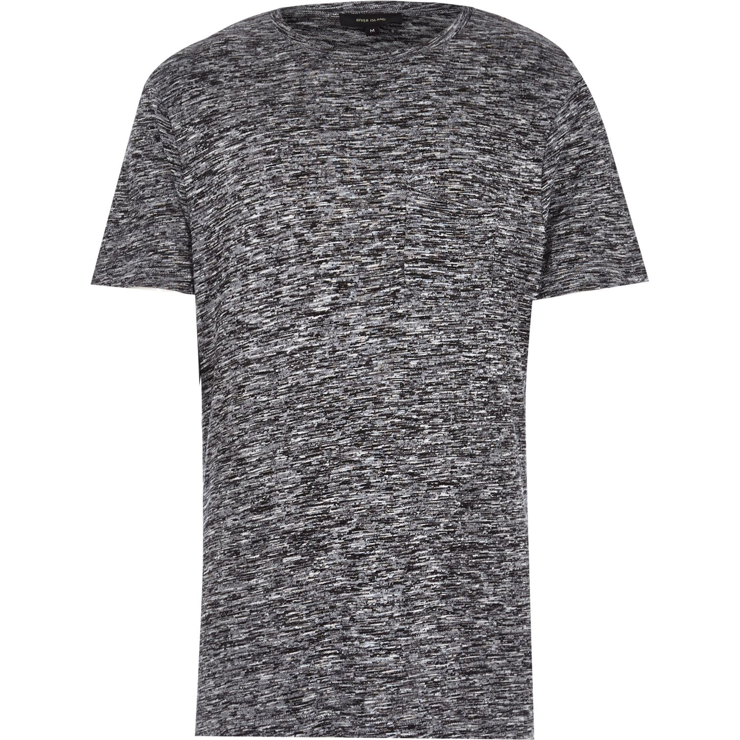 River island grey marl short sleeve t shirt in gray for for Grey marl t shirt