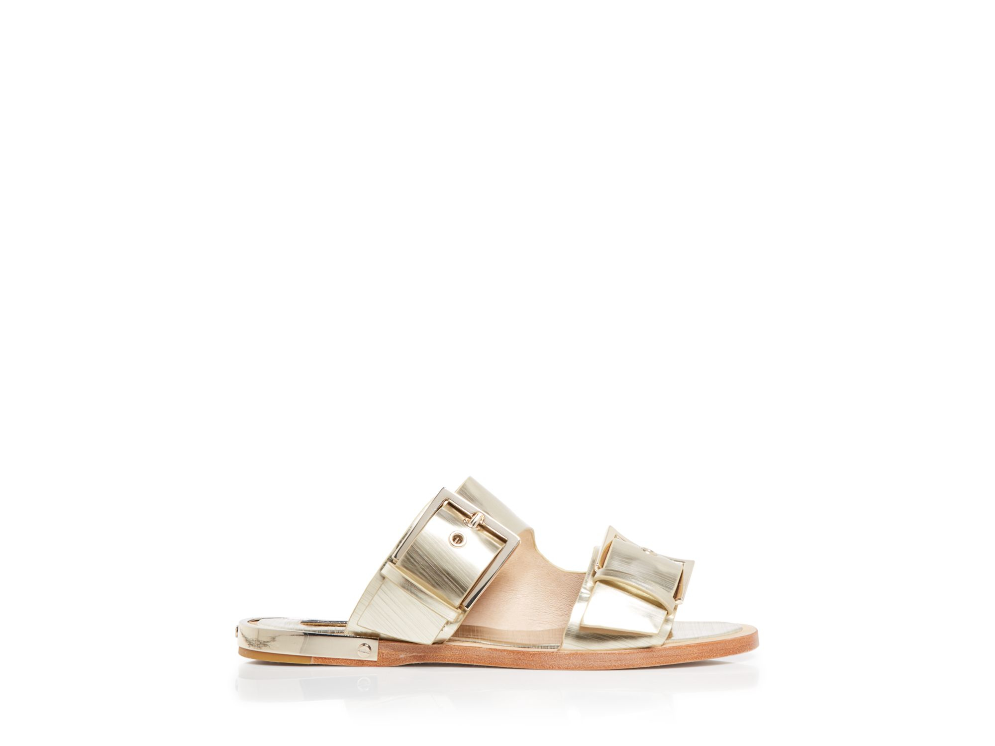 Rachel Zoe Metallic Slide Sandals real for sale 8mkxr9I