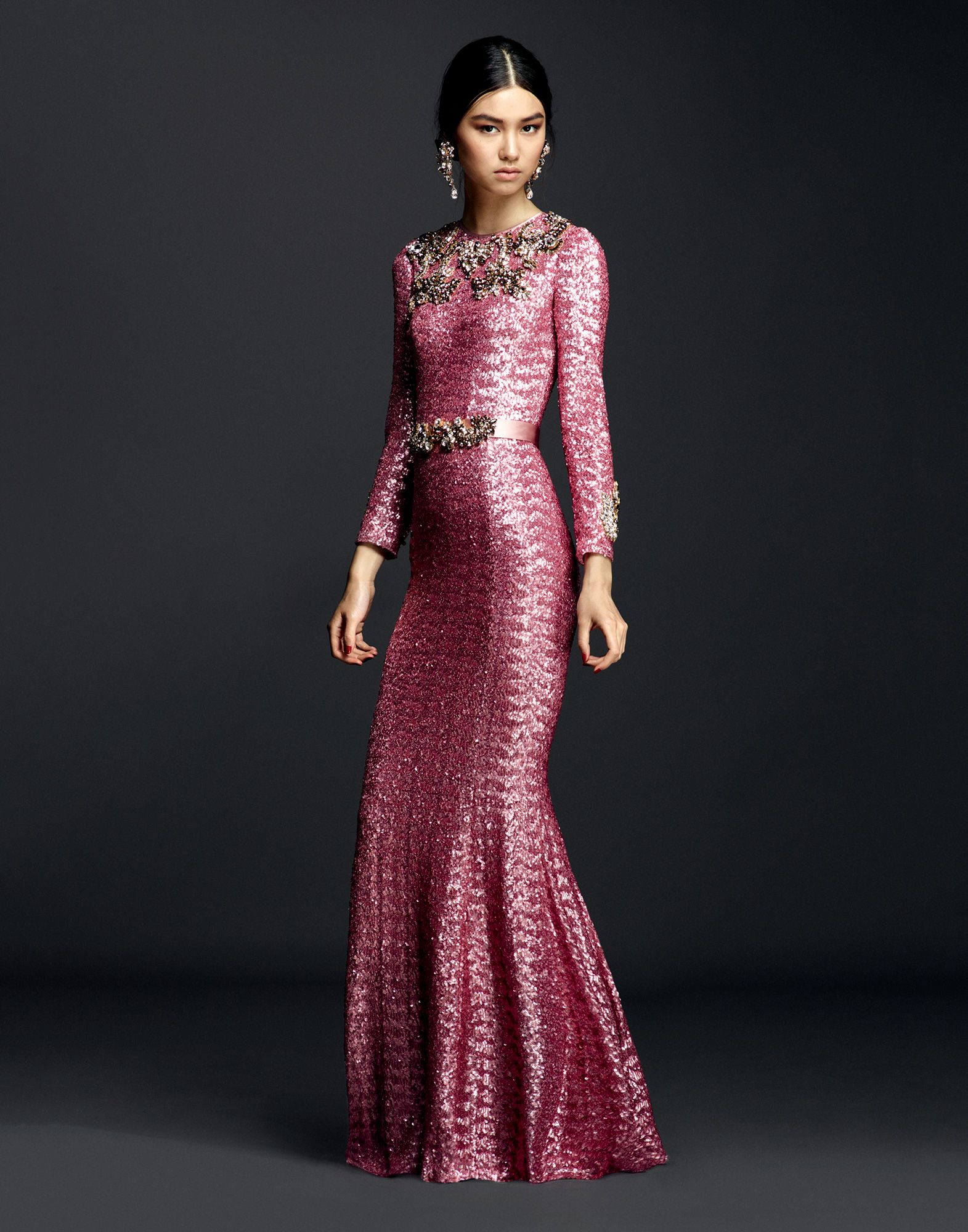 Lyst Dolce Amp Gabbana Sequin Dress With Crystals And Jewelled Belt In Pink