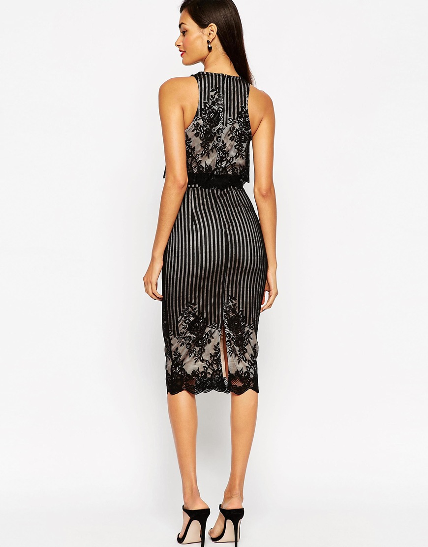 ffd0c754e8a8c ... ASOS Lace Crop Top Pencil Midi Dress in Black Lyst