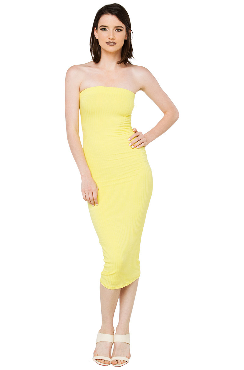 Akira Strapless Ribbed Yellow Bodycon Midi Dress In Yellow