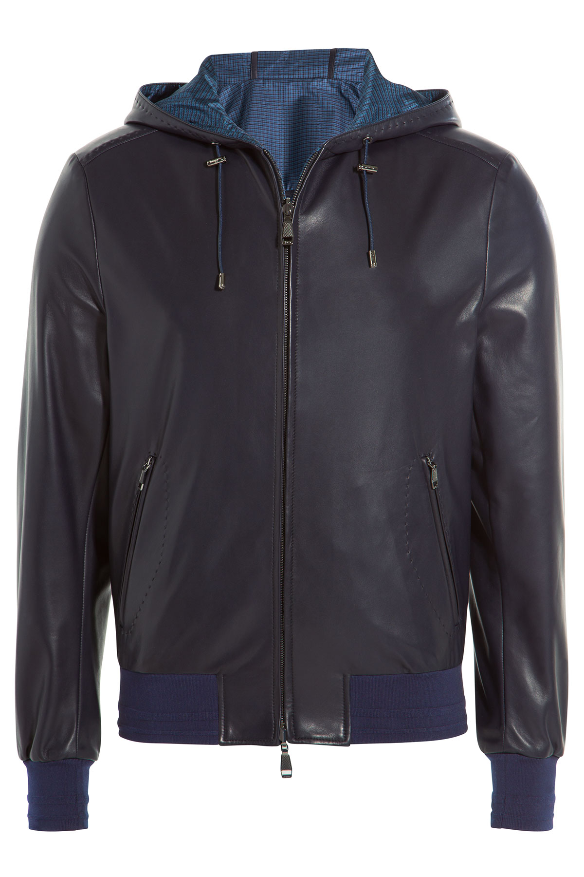 Brioni Leather Bomber Jacket With Hood in Blue for Men | Lyst