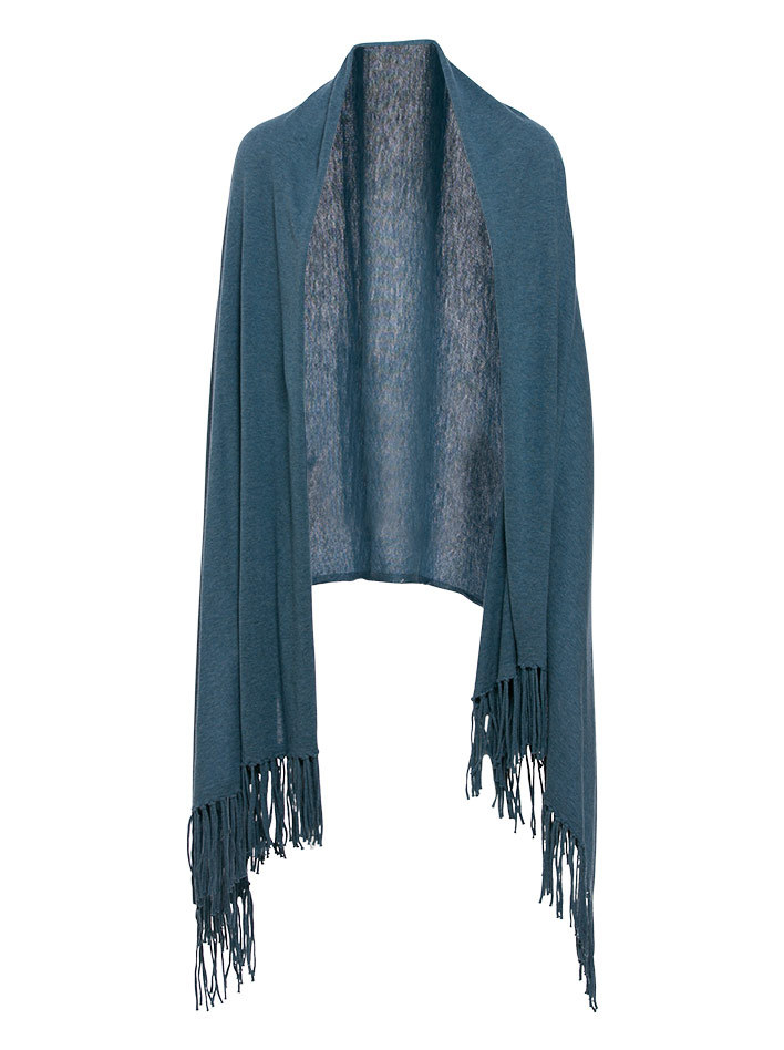 Minnie rose Cotton Fringe Blankie Wrap In Black in Black ...