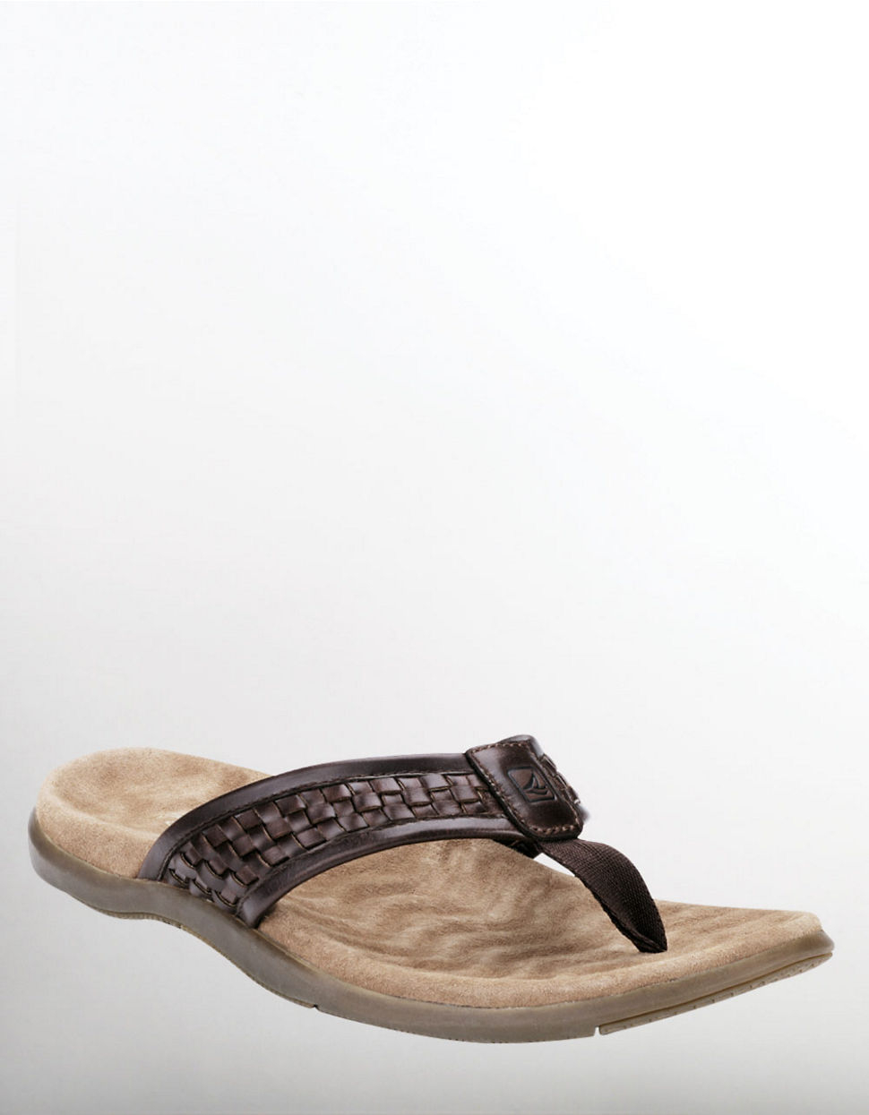 a4bc6fbf6192 Lyst - Sperry Top-Sider Largo Woven Leather Thong Sandals in Brown ...