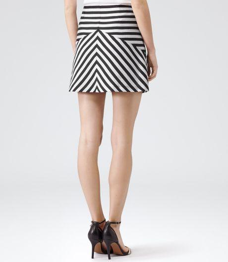 Reiss Bryana Contrast Stripe Aline Skirt in Black (BLACK/WHITE) | Lyst