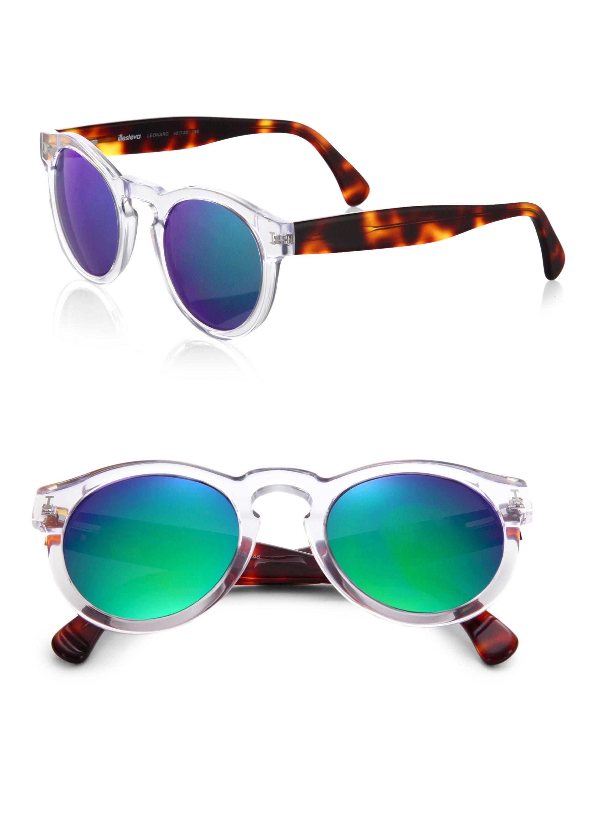 Illevesta Sunglasses  illesteva leonard clear havana mirrored sunglasses lyst