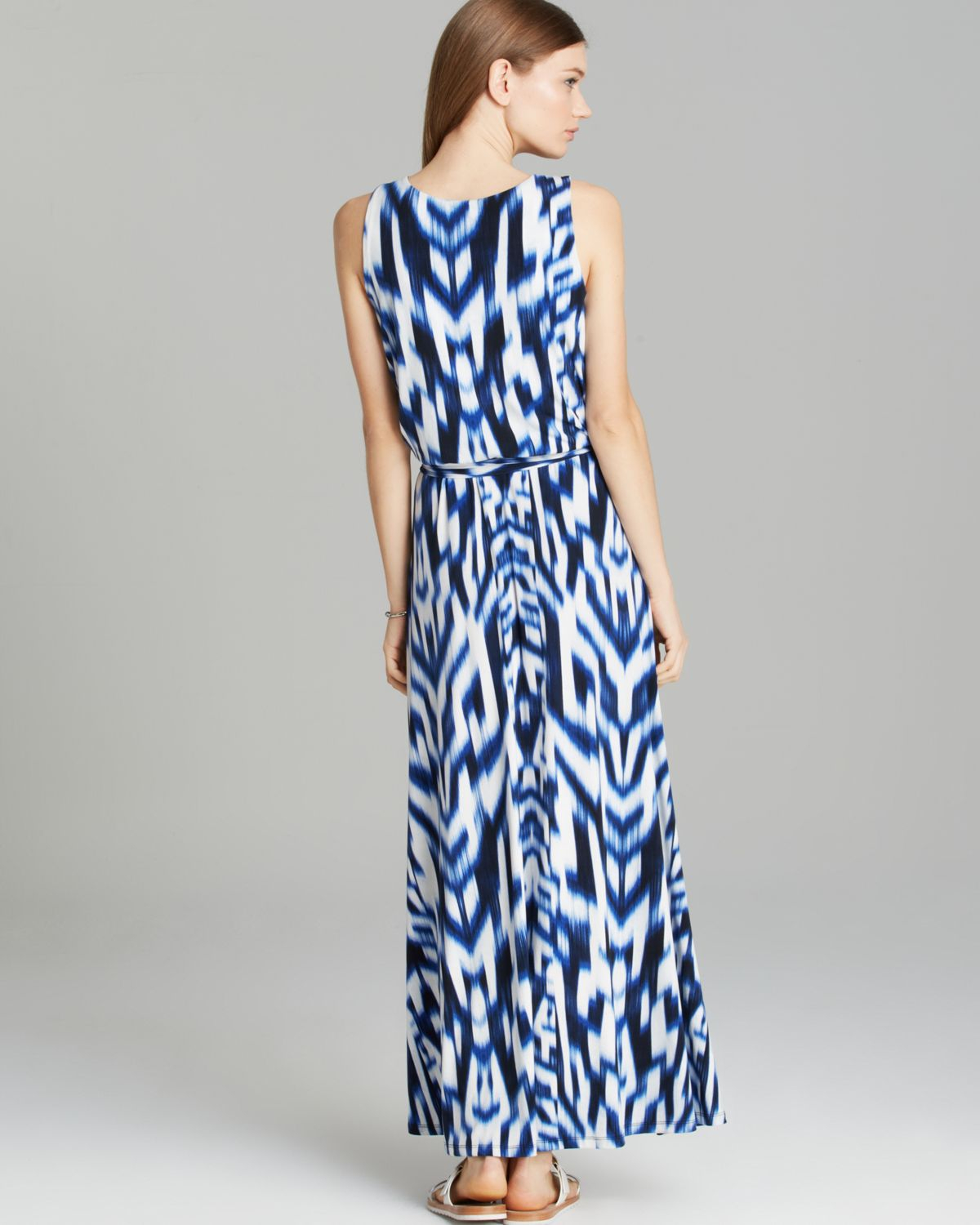 Lyst Calvin Klein Print Maxi Dress In Blue