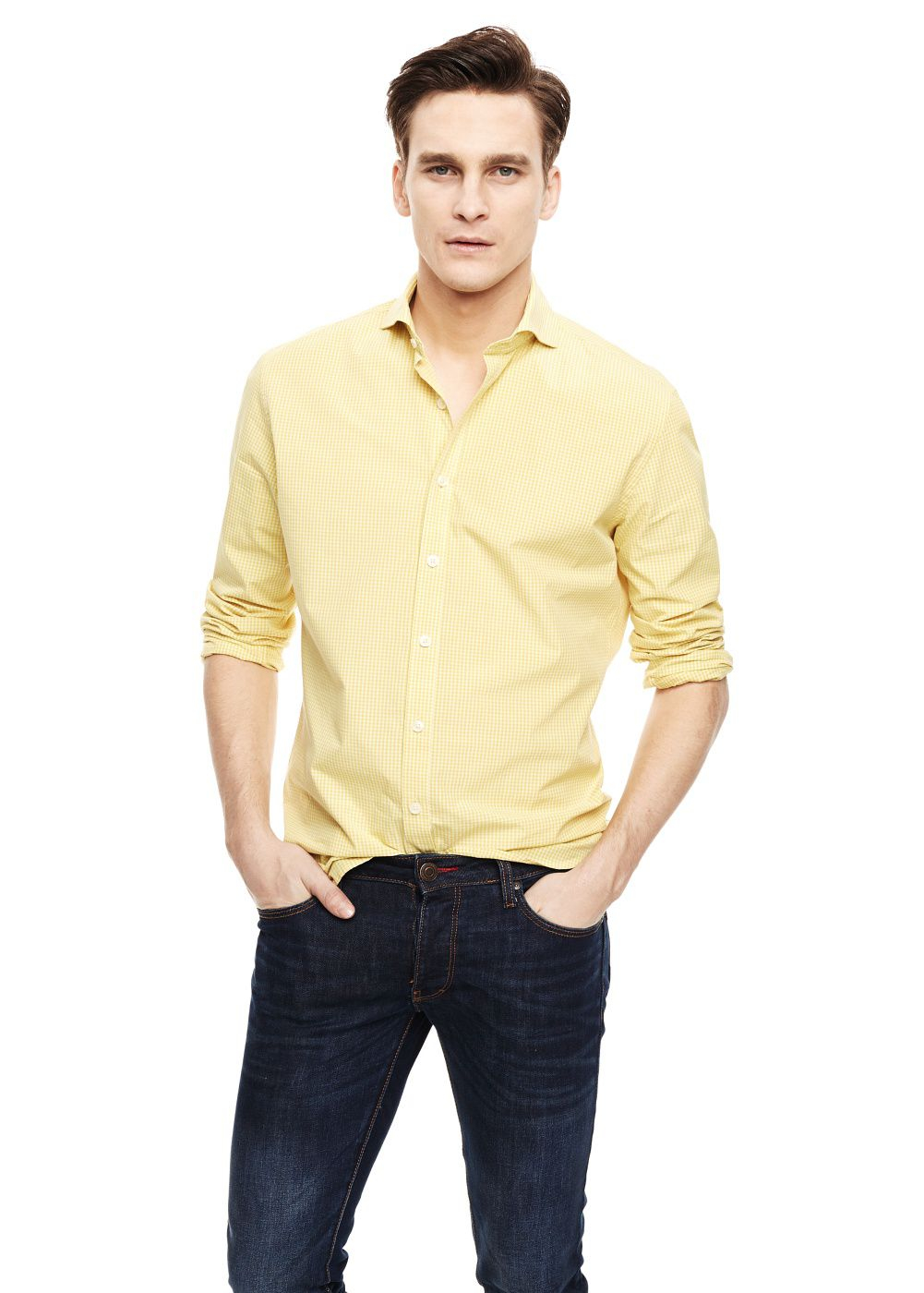 Mango slimfit gingham check shirt in yellow for men lyst for Mens yellow gingham shirt