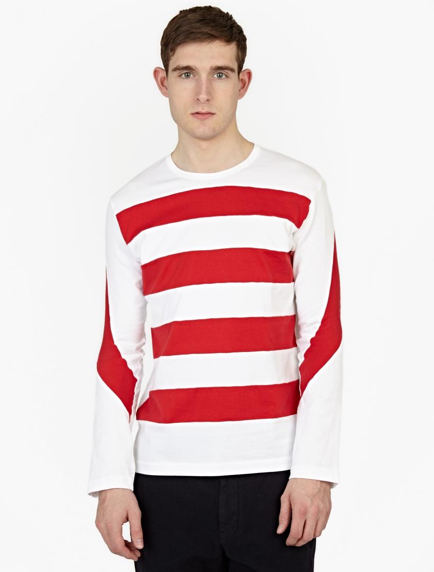 Ganryu white cotton long sleeved t shirt in red for men lyst for White cotton long sleeve t shirt