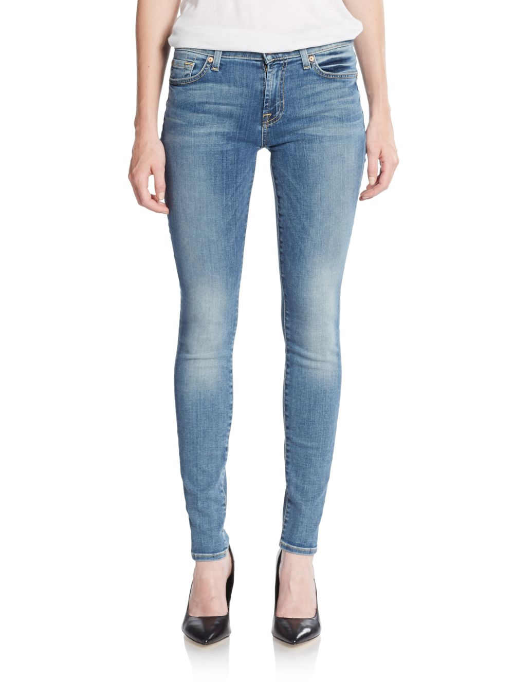for all mankind the modern straight leg jeans in blue lyst. Black Bedroom Furniture Sets. Home Design Ideas