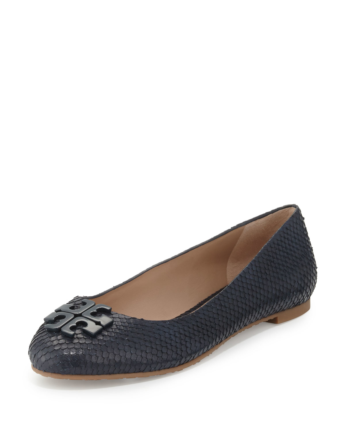tory burch lowell 2 snake embossed ballet flats in blue lyst. Black Bedroom Furniture Sets. Home Design Ideas