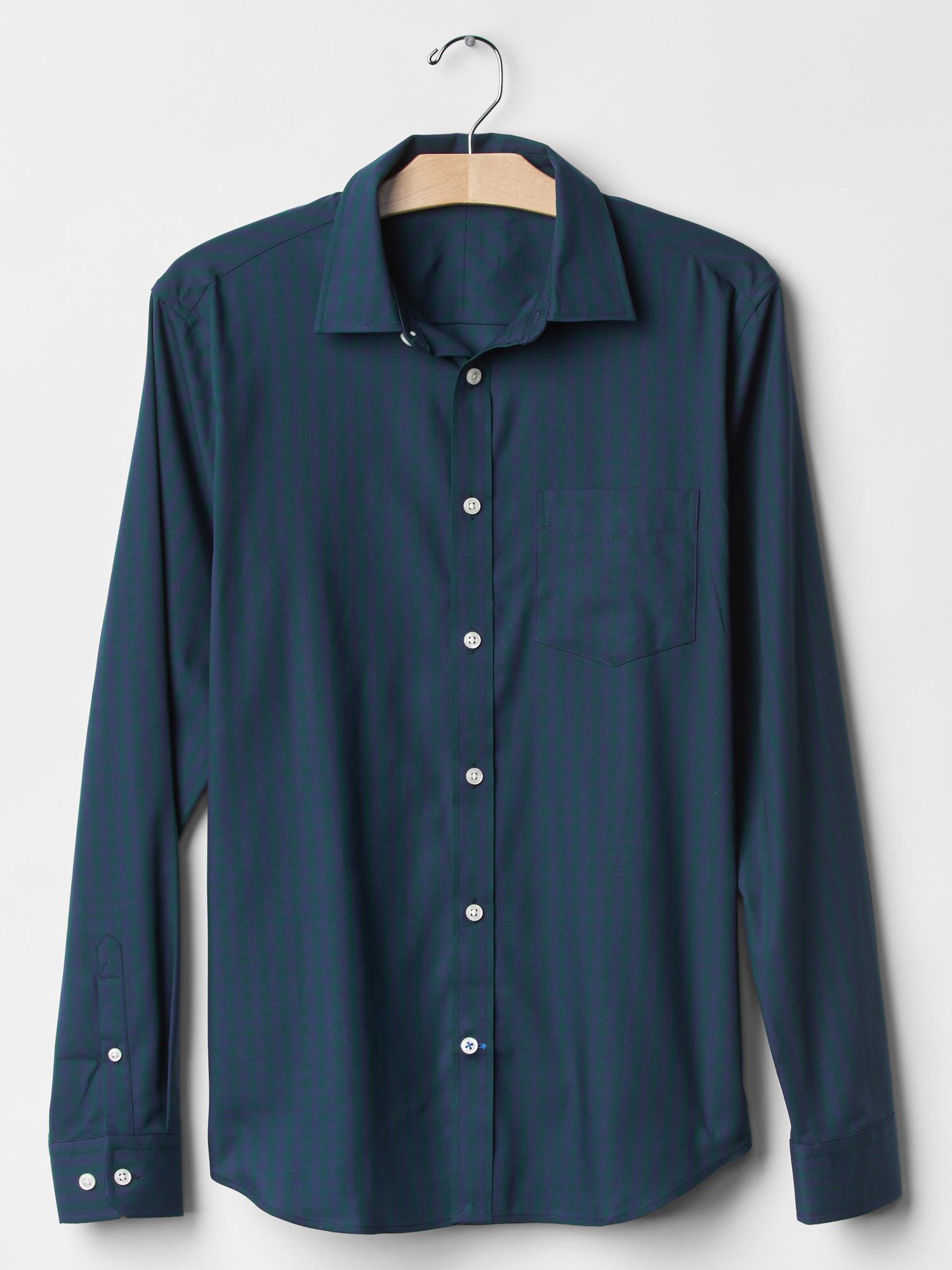 Gap wrinkle resistant gingham shirt slim fit in green for Wrinkle resistant dress shirts