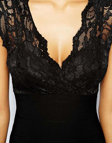 Lipsy Lace Maxi Dress With Wrap Front In Black Lyst