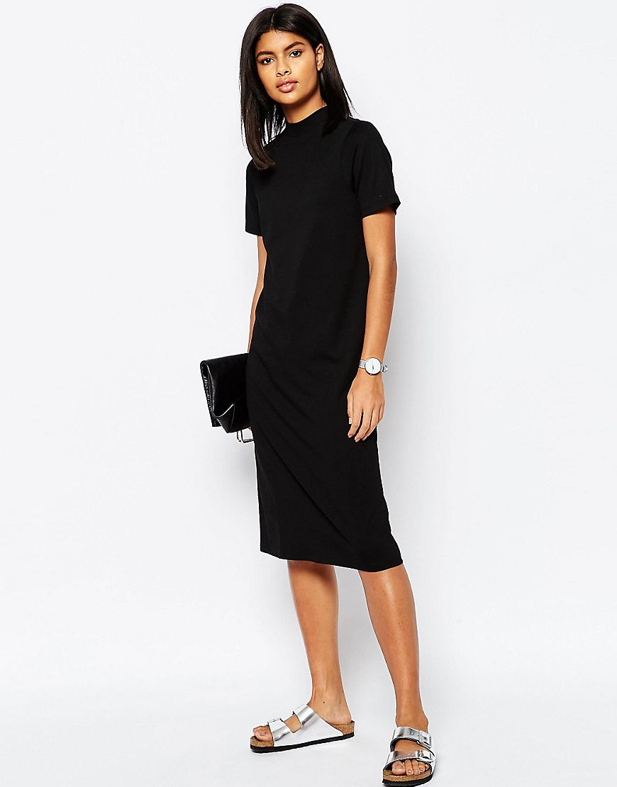 Lyst asos midi t shirt dress with high neck black in black for Midi shirt dress black