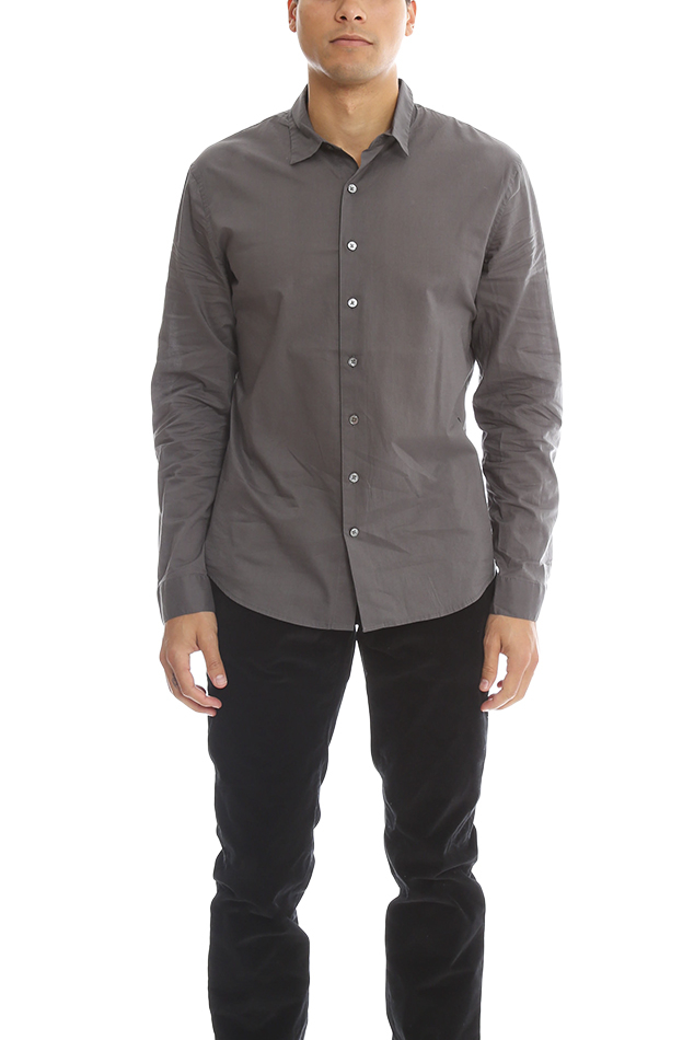 Atm atm button down dress shirt in gray for men lyst for Mens grey button down dress shirt