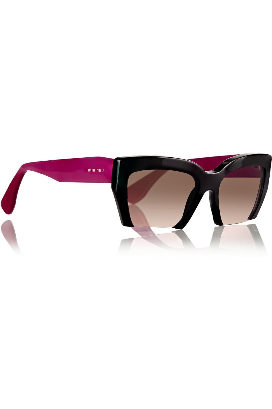 bdc8cf4bf3 Miu Miu Two-Tone Cat Eye Acetate Sunglasses in Purple - Lyst