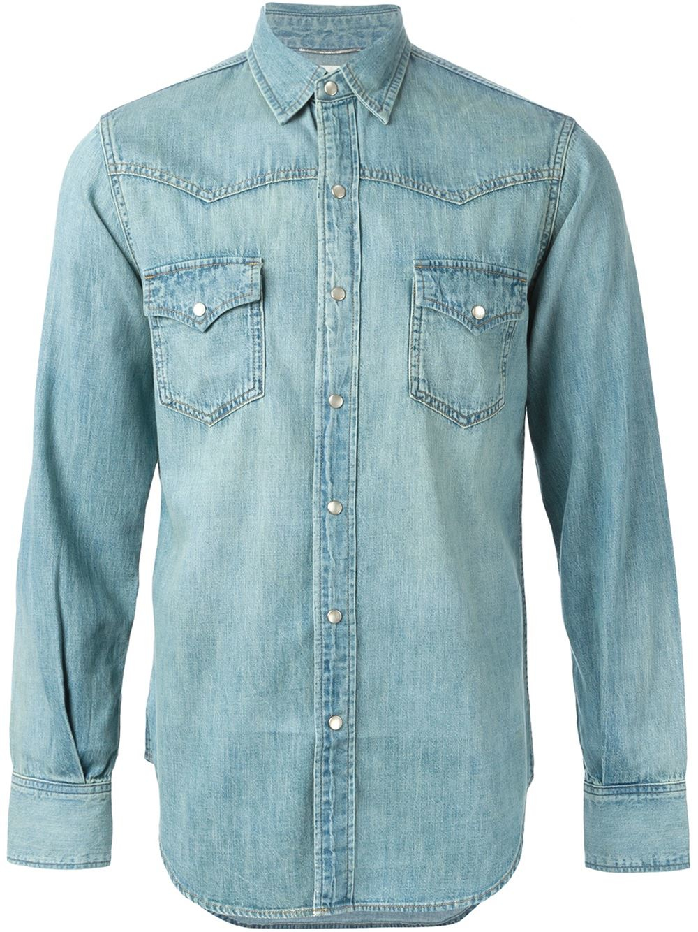1fc724e04c Lyst - Saint Laurent Denim Western Shirt in Blue for Men