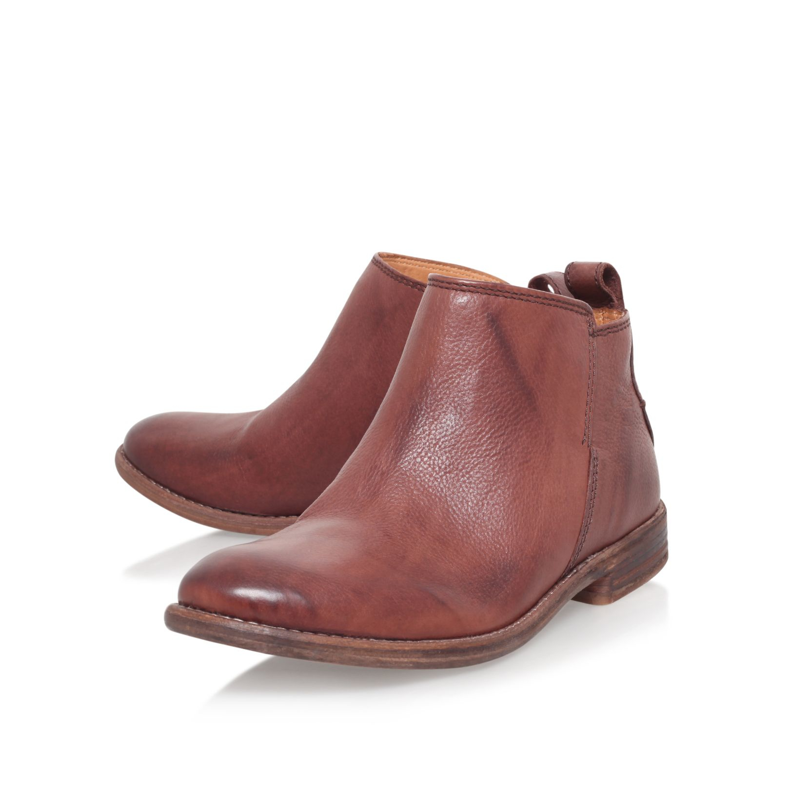 h by hudson revelin flat ankle boots in brown lyst