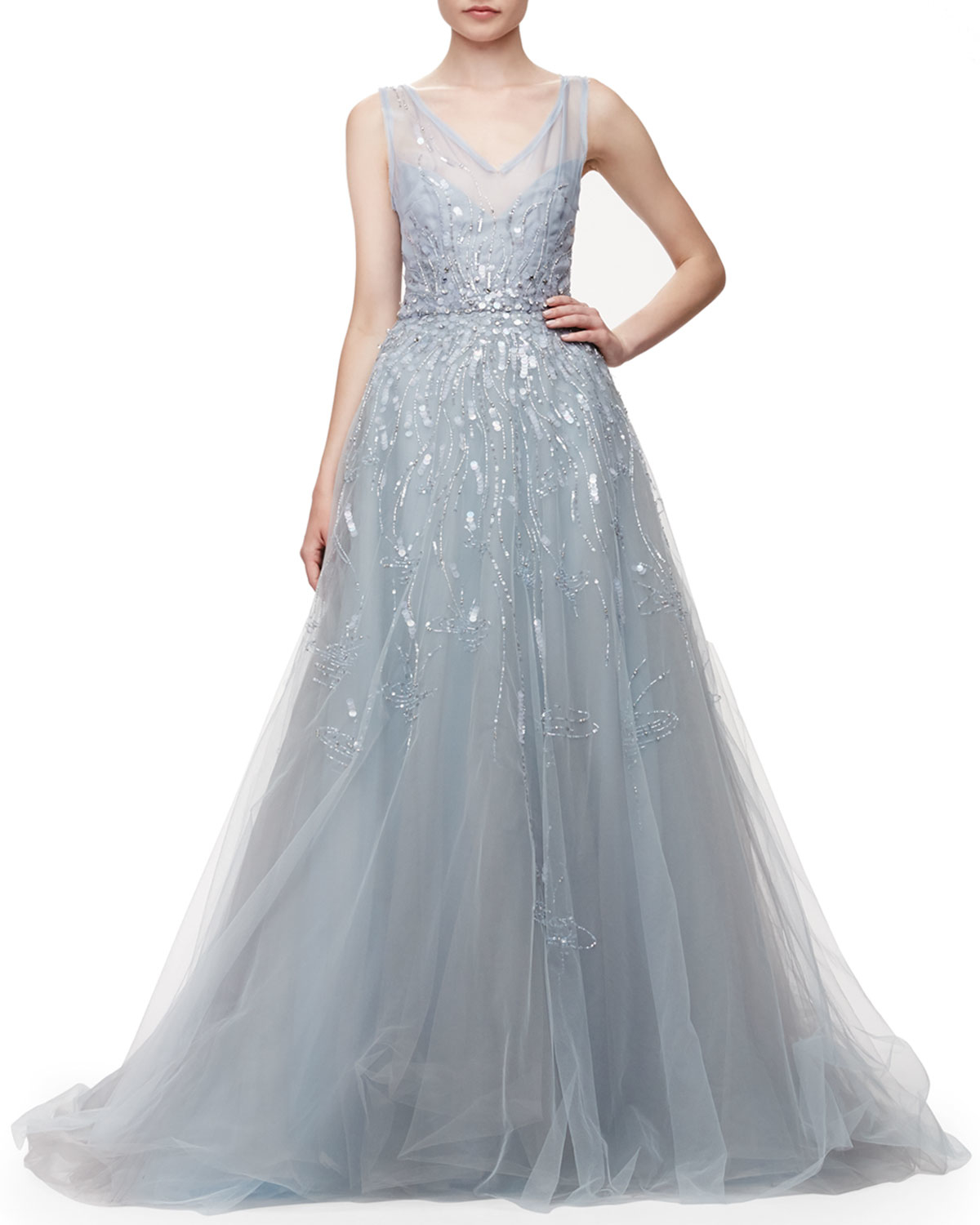 Lyst - Carolina Herrera Embroidered Tulle Gown in Blue