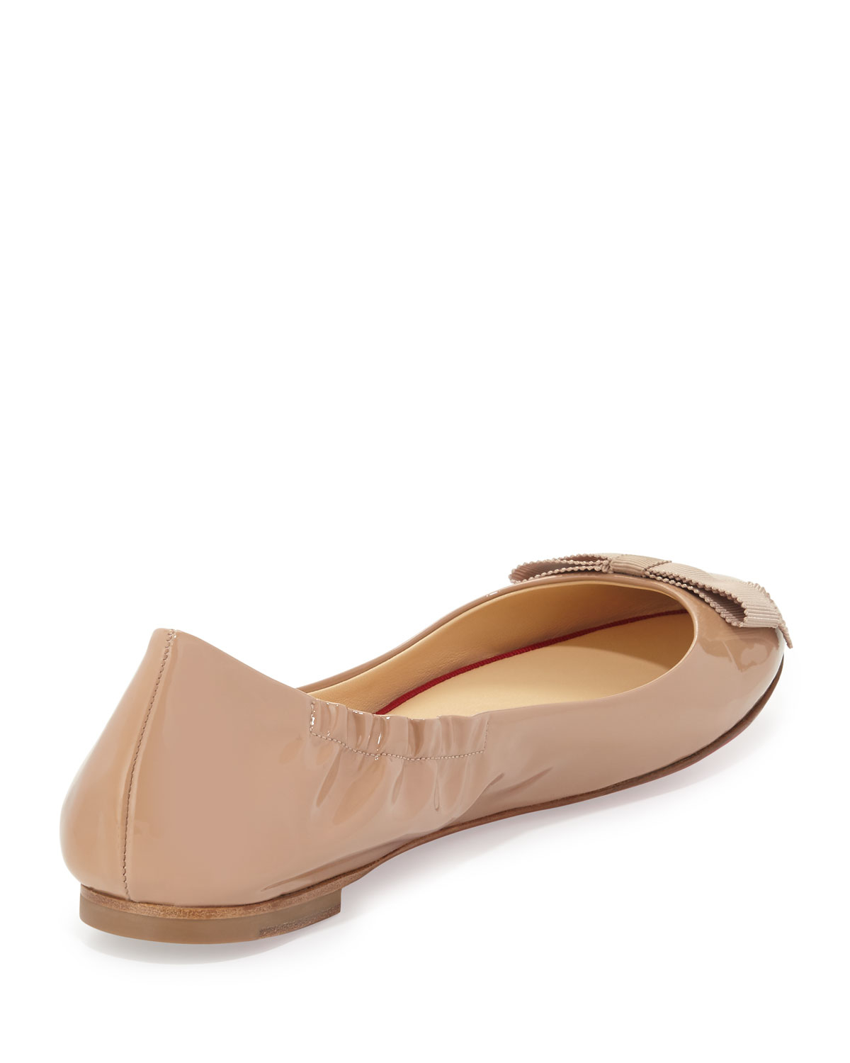 fa0f550048c6 Lyst - Christian Louboutin Gloriana Patent-Leather Ballet Flats in Natural