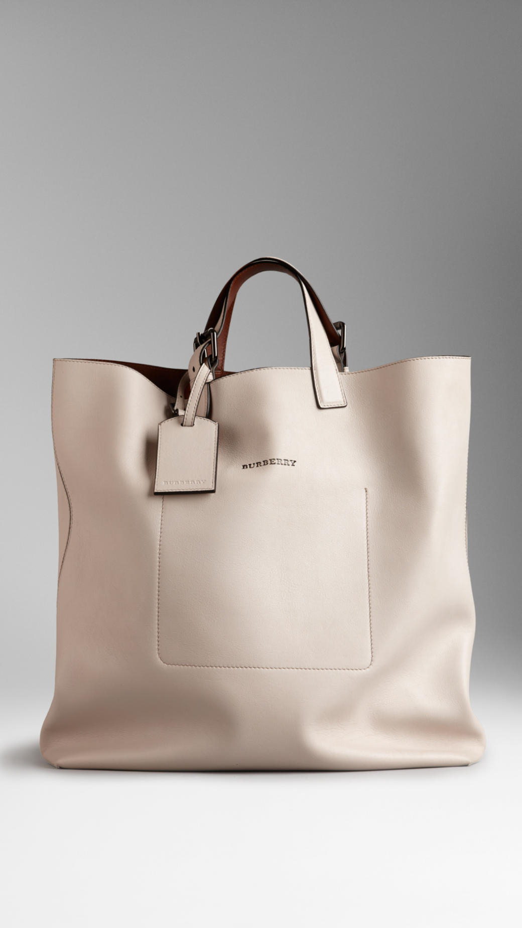 d1b1a4142b Burberry Large Bonded Leather Portrait Tote Bag in Natural - Lyst